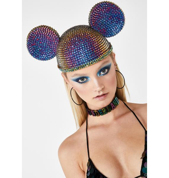 Diamond Dolls Oil Slick Crystal Ears Hat