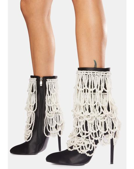 Megan Pearl Stiletto Booties