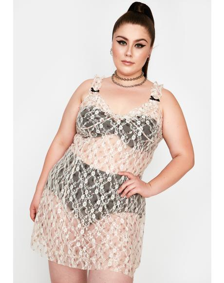 Curve White Lace Mini Dress