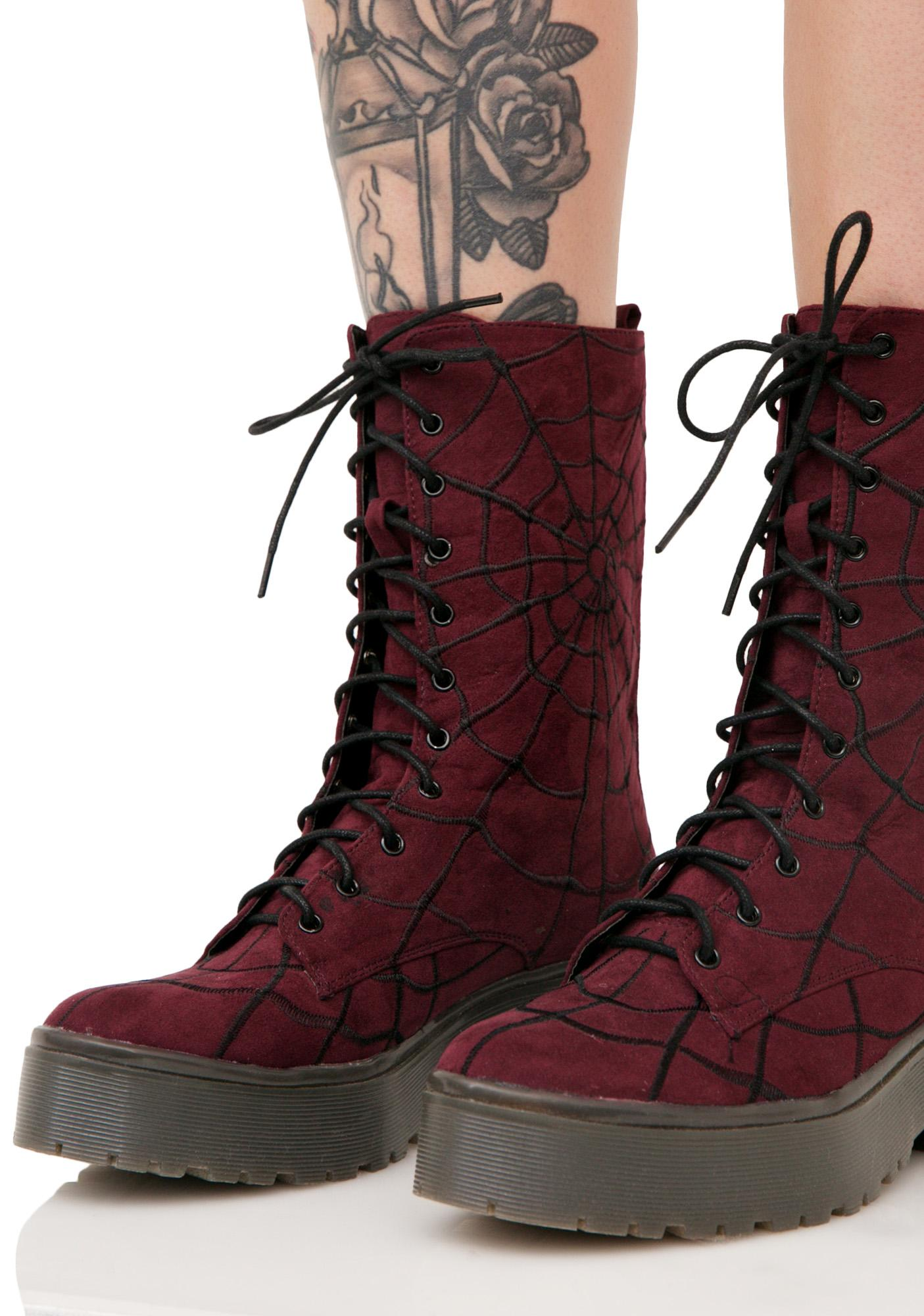 Iron Fist Walking In My Web Heavy Sole Boots