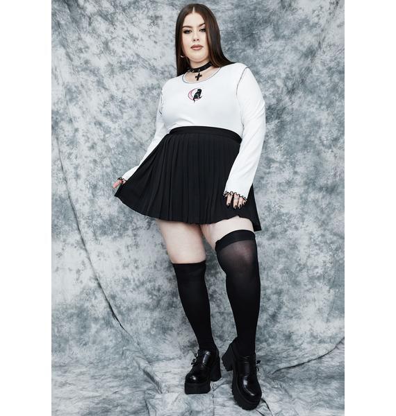 dELiA*s by Dolls Kill Servin' Rad Omens Pleated Mini Skirt