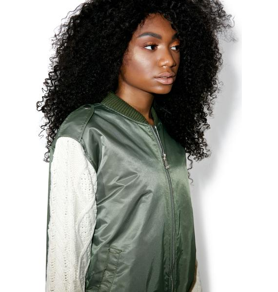 J.O.A Sweater Sleeve Bomber Jacket