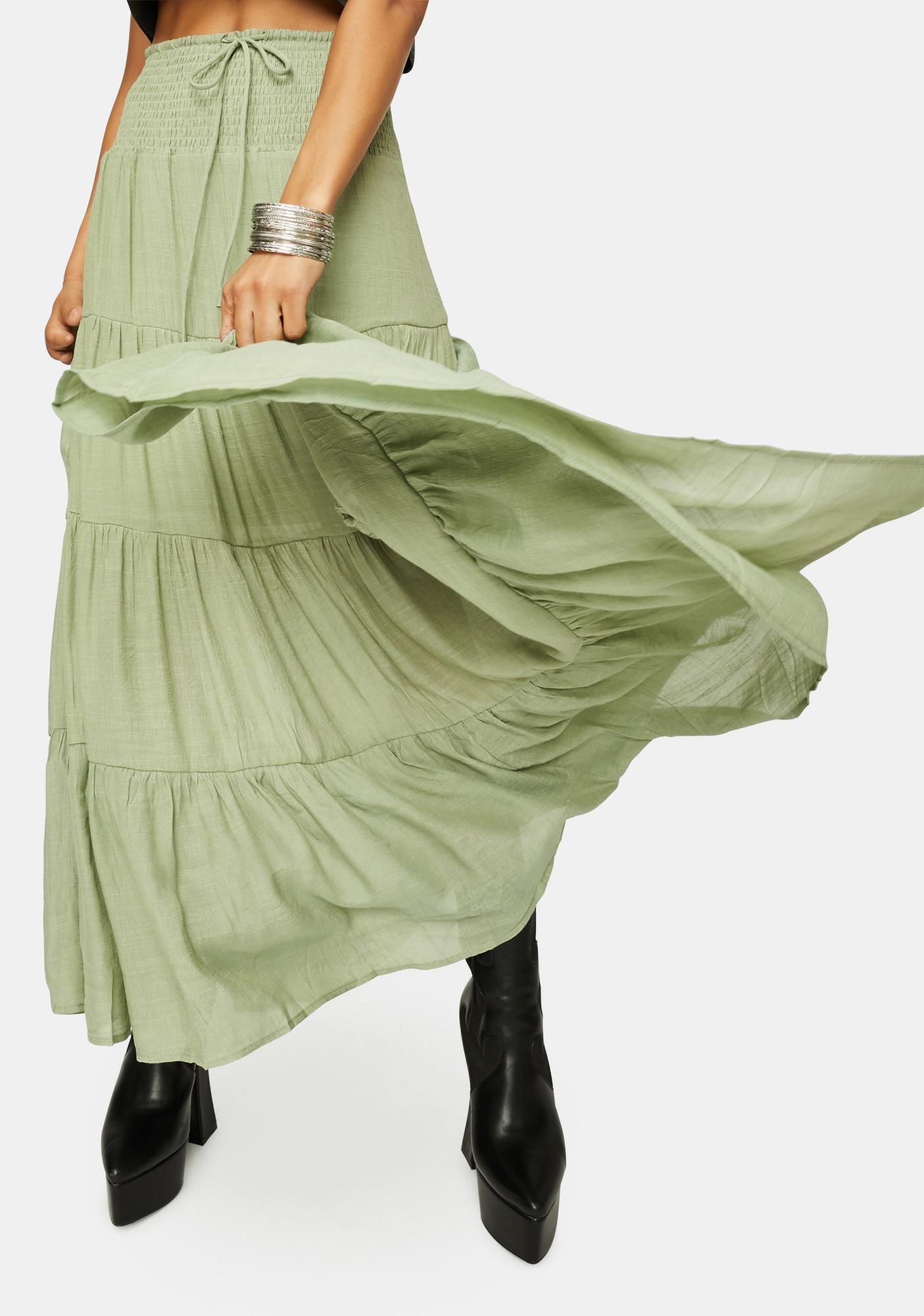 Olive Take It Easy Smocked Maxi Skirt