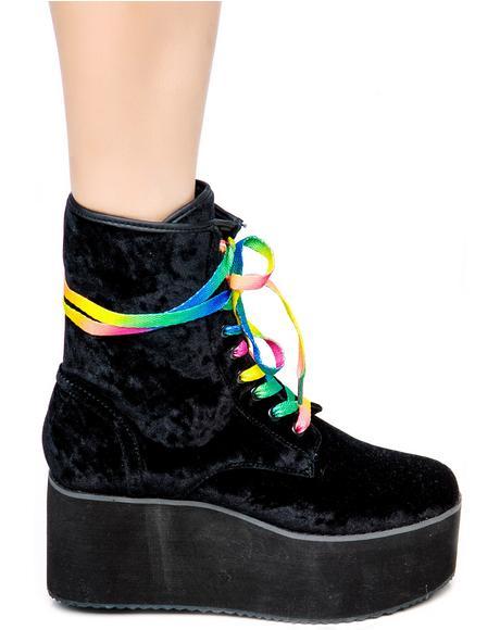 Bloq Velvet Platform Boots