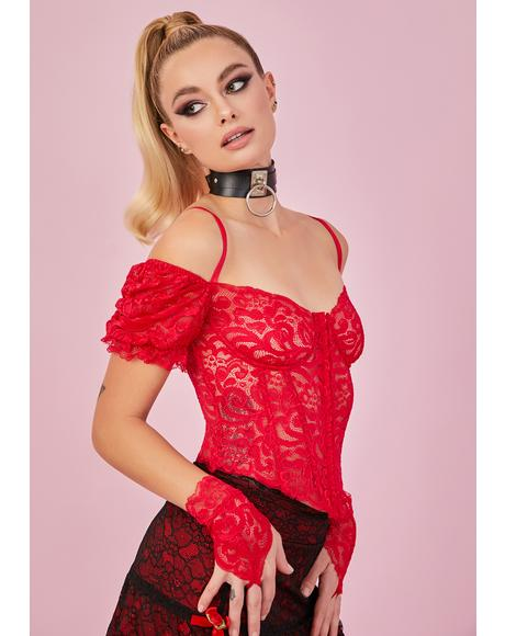 Ruby Yours Truly Lace Corset & Gloves