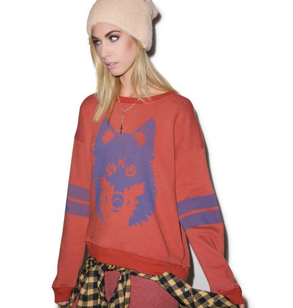 Wildfox Couture Vintage Wolf Oversized Sweatshirt