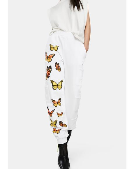 White Monarch Butterfly Sweatpants