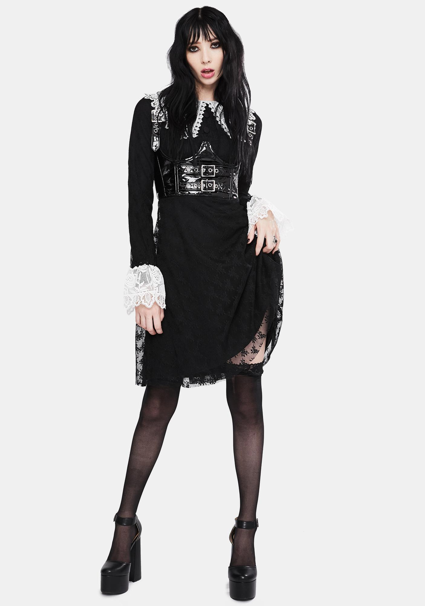 Jawbreaker Black Weird Sisters Lace Fit And Flare Dress