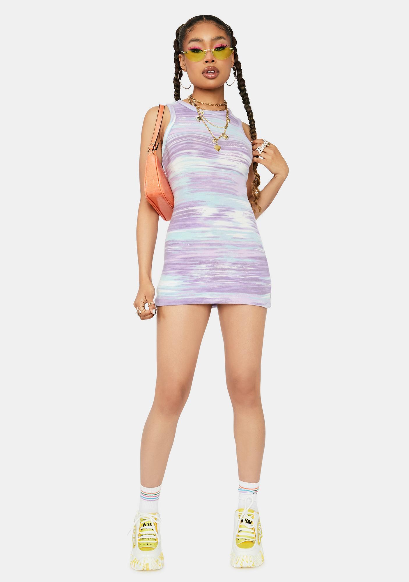 Lavender Broken Down Fuzzy Abstract Mini Dress