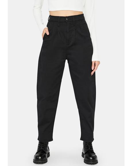 Black Twill Balloon Leg Pants