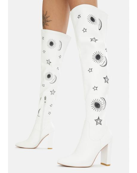 White Wonder Thigh High Boots