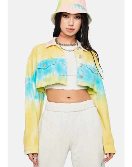 Sun Dance Tie Dye Crop Denim Jacket