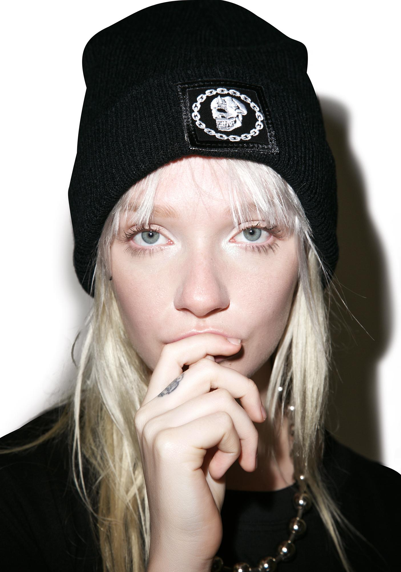 Long Clothing x Mishka Chain Large Patch Beanie
