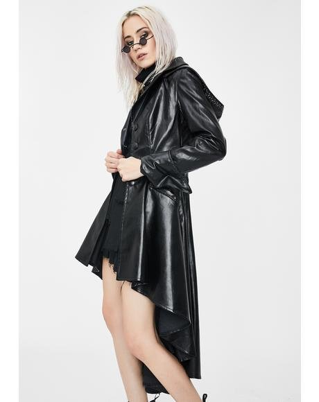 Long Vegan Leather Cocktail Jacket