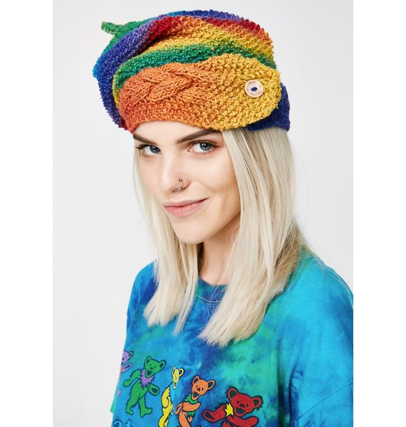 Vintage Rainbow Silk Mix Beanie