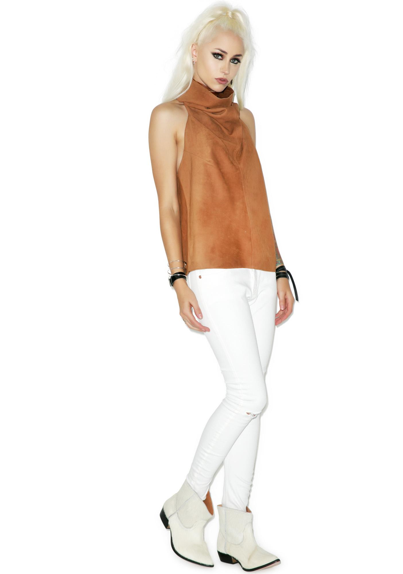 One Teaspoon Desert Moon Suede Top