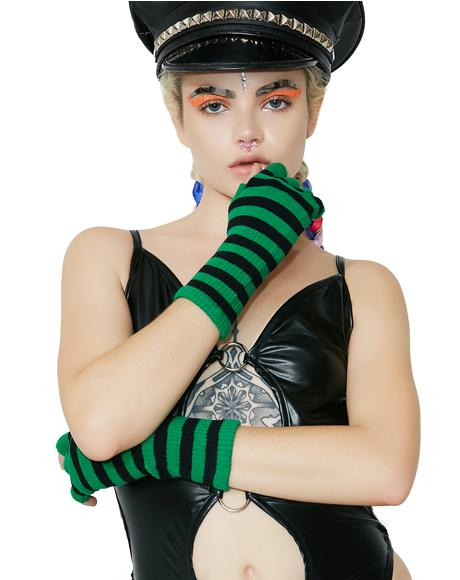 Live Wire Striped Fingerless Gloves