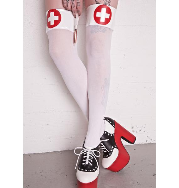 Da Red Cross Thigh High Socks