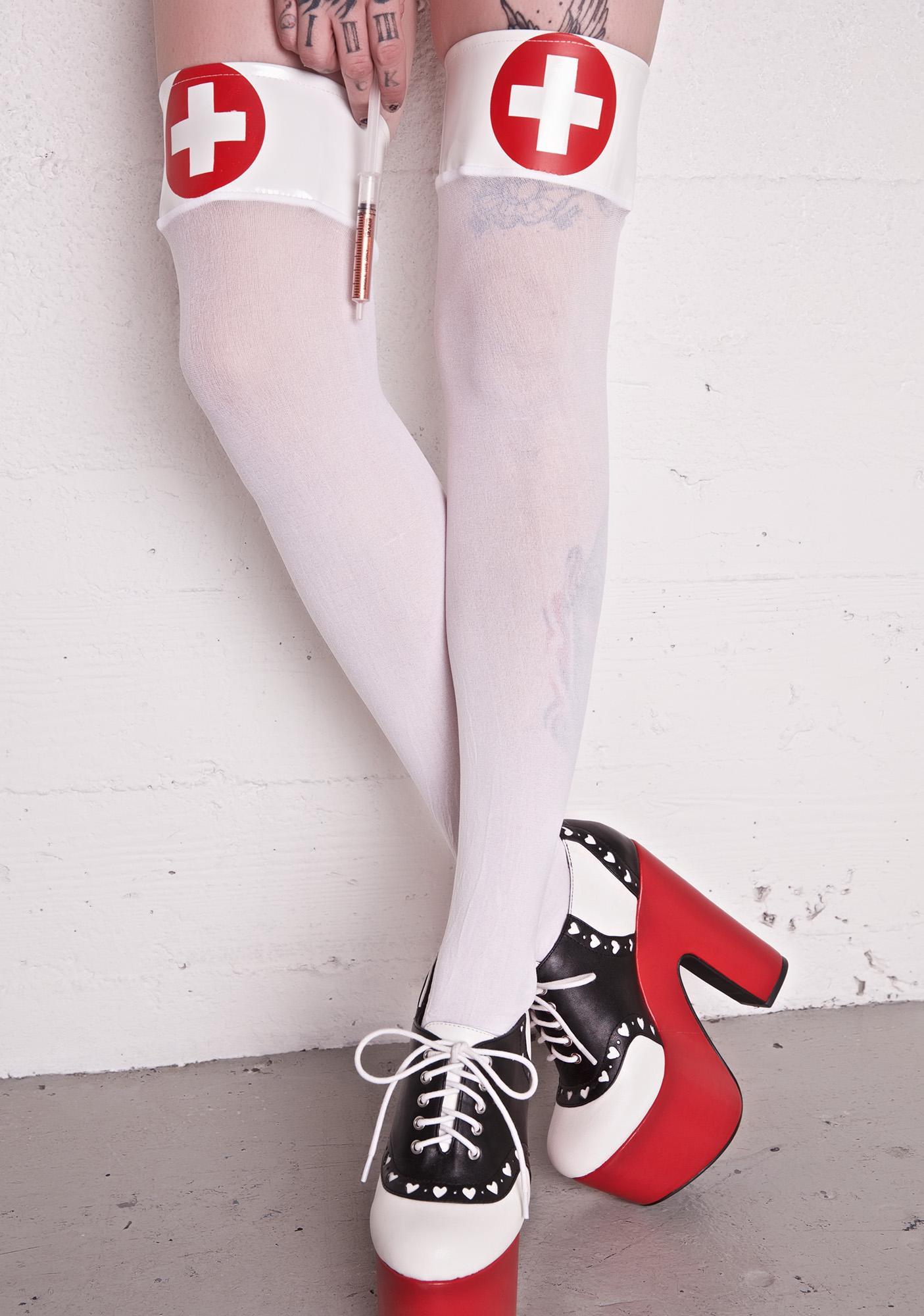 Da Red Cross Thigh High Socks