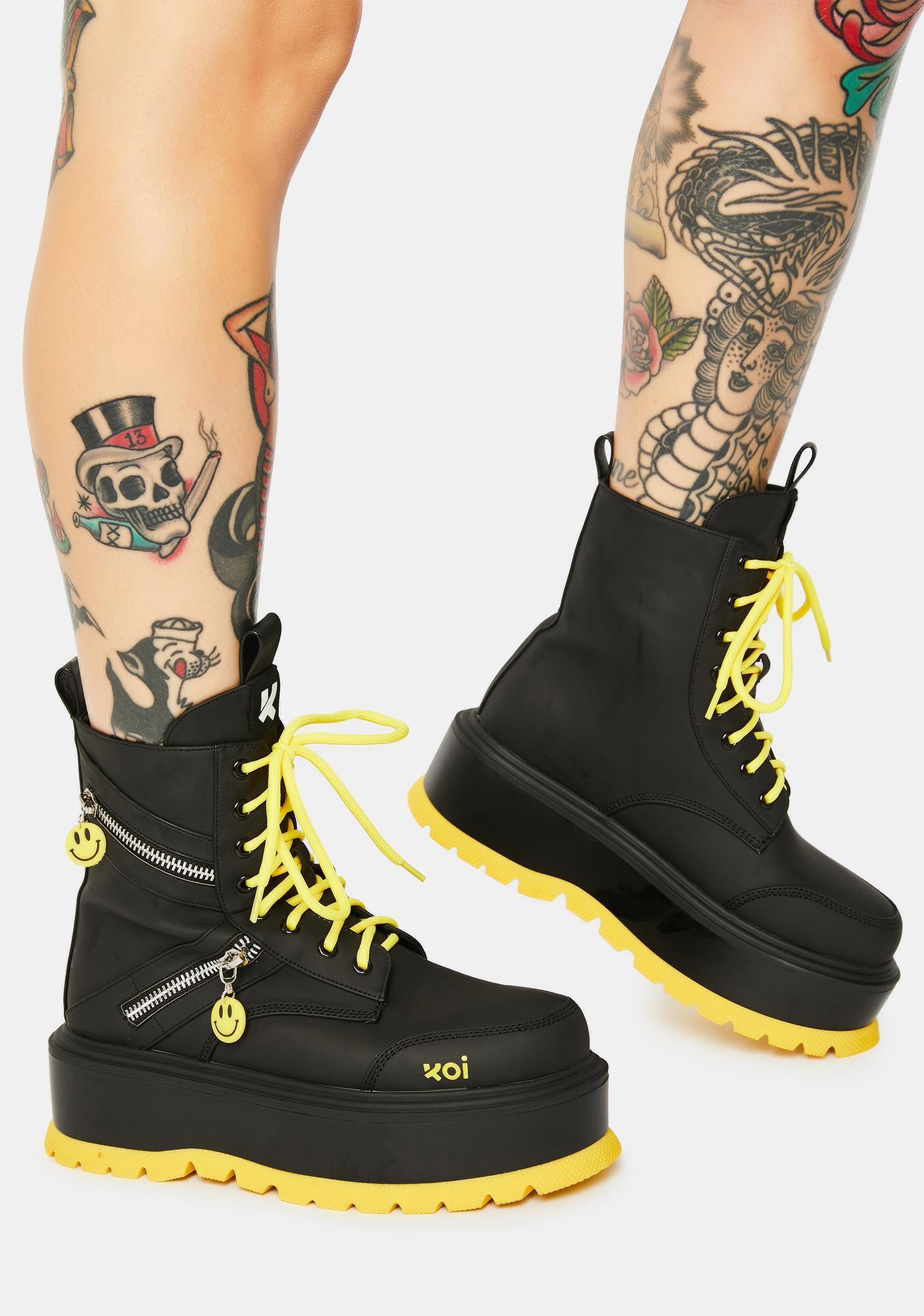 Koi Footwear Bassiani Smiley Face Platform Boots