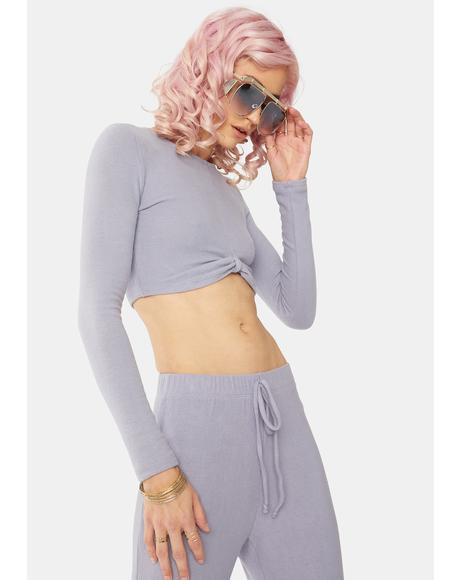 Dusty Lavender Long Sleeve Crop Top