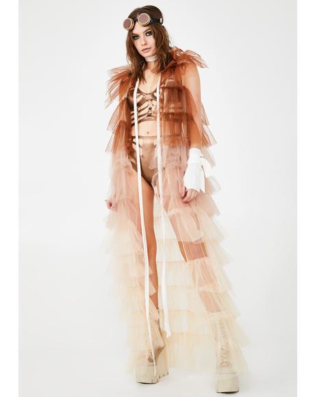 Desert Astro Acid Ruffle Kimono