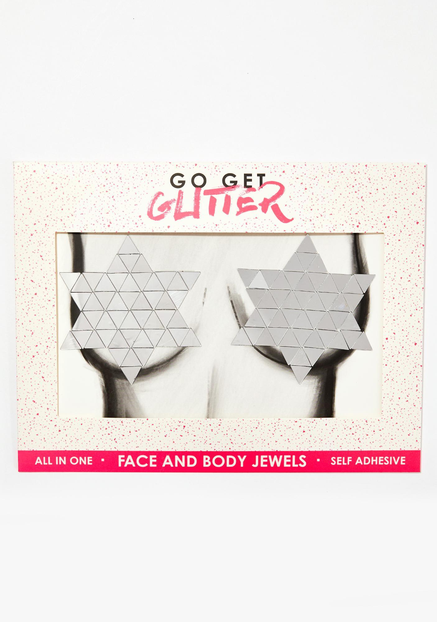 Go Get Glitter Silver Mirror Boob Jewels