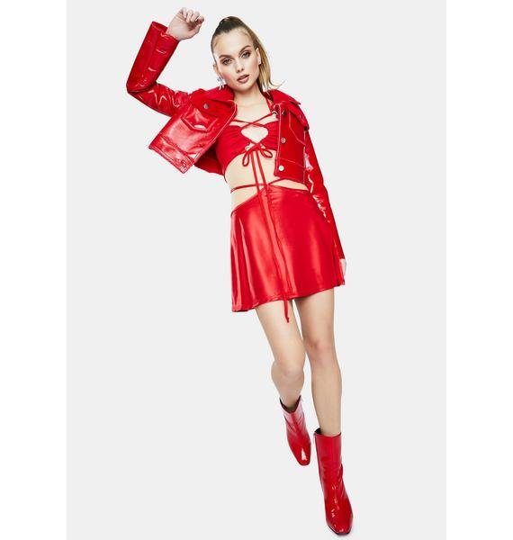 Forbidden Clothing Red Please Lace-Up Top