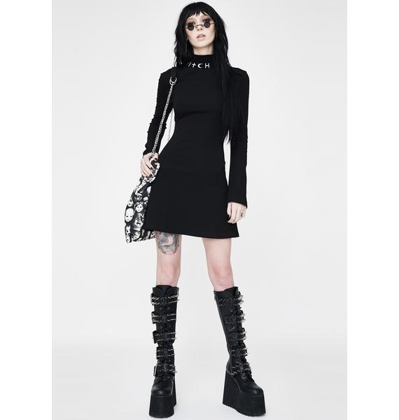 Punk Rave Witch Trumpet Sleeve Skater Dress