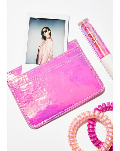 Pink Holo Card Holder