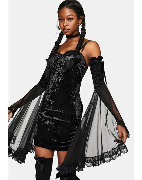 Velvet Wrap Braces Dress