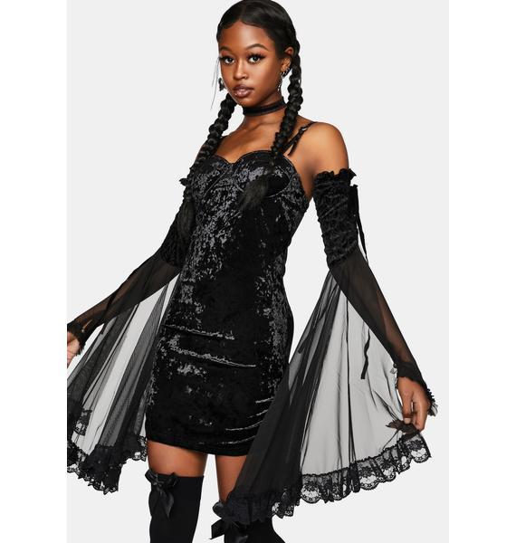 Punk Rave Velvet Wrap Braces Dress