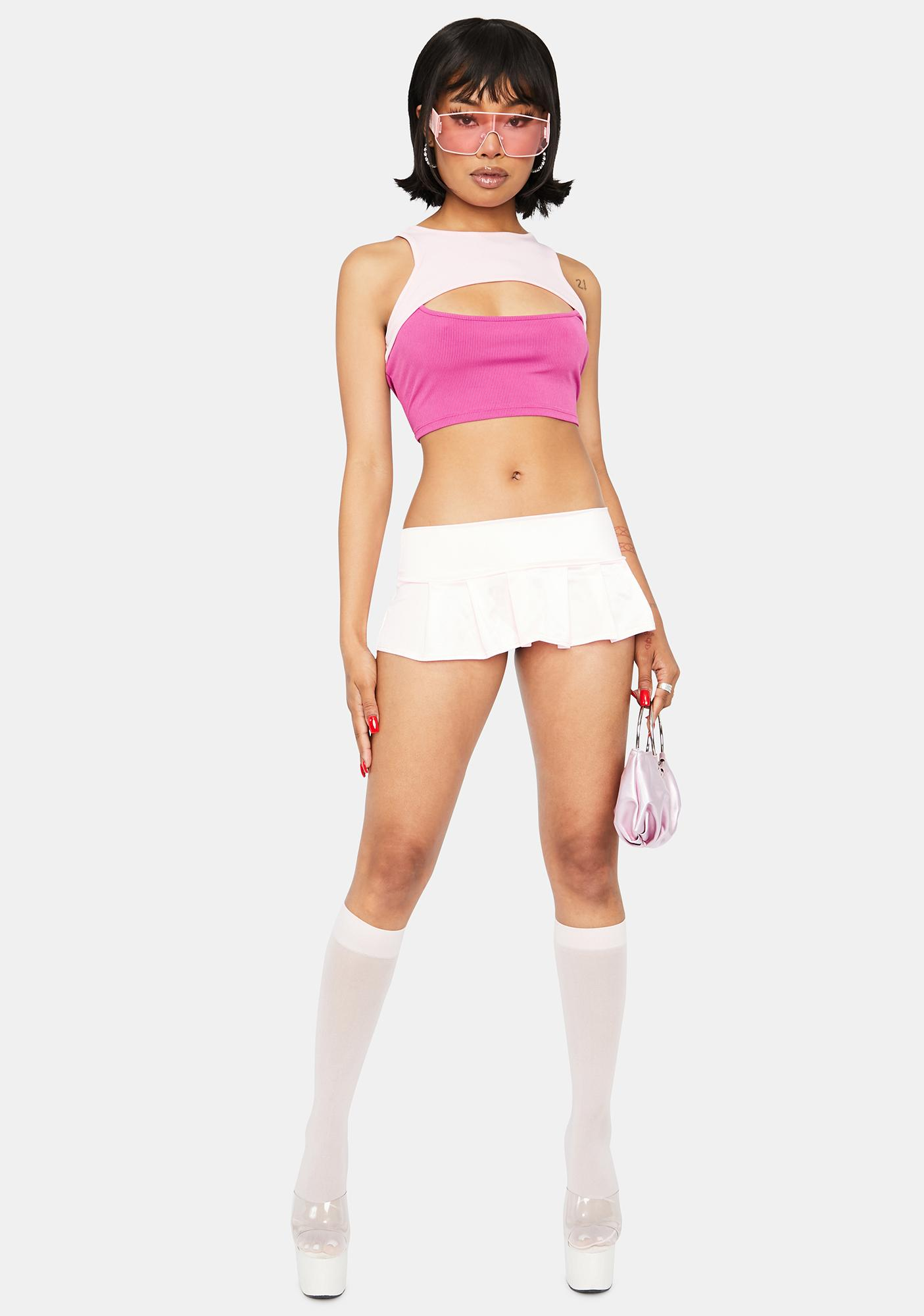 Candy Double The Trouble Two Tone Cutout Crop Top