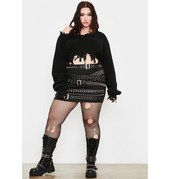 Current Mood Let'z Party To Oblivion Distressed Sweater