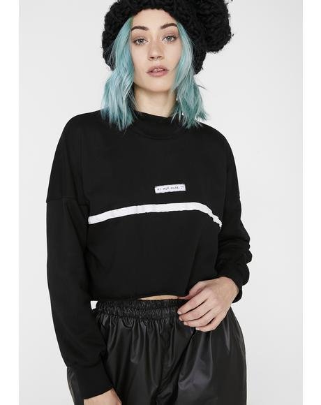 High Neck Stripe Crop Sweatshirt