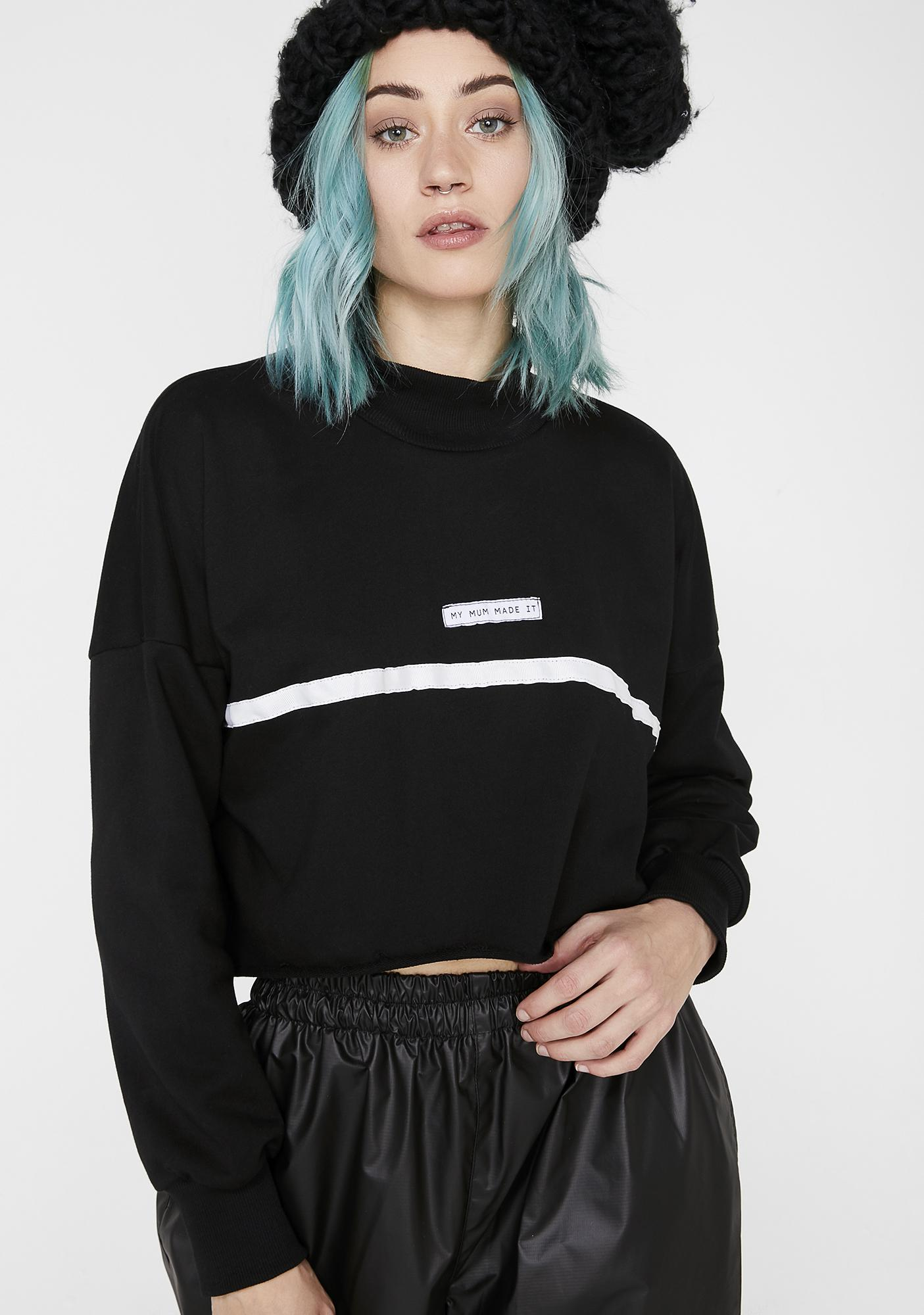 My Mum Made It High Neck Stripe Crop Sweatshirt