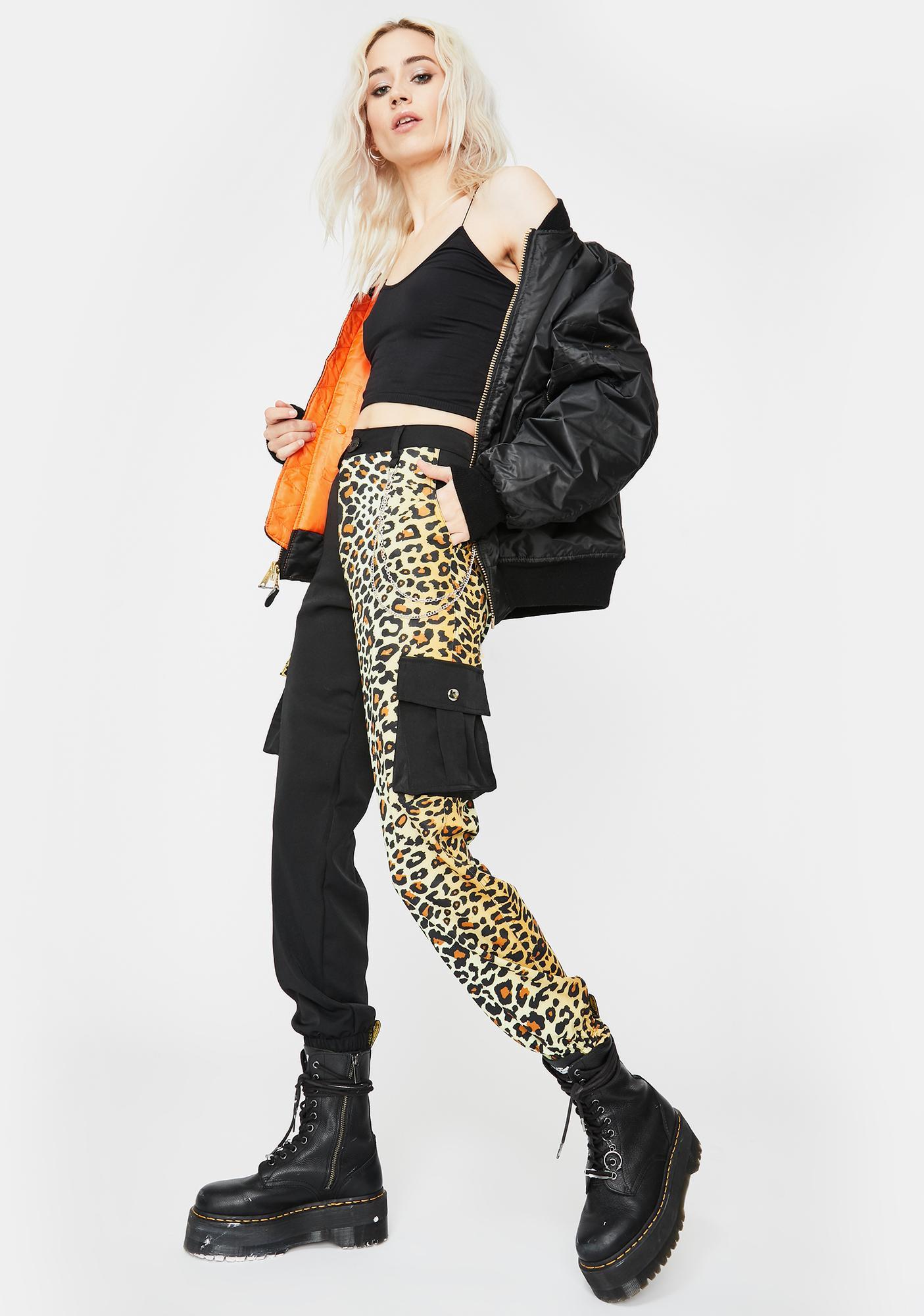 Glitter Disco Child Black Leopard Chained Trousers