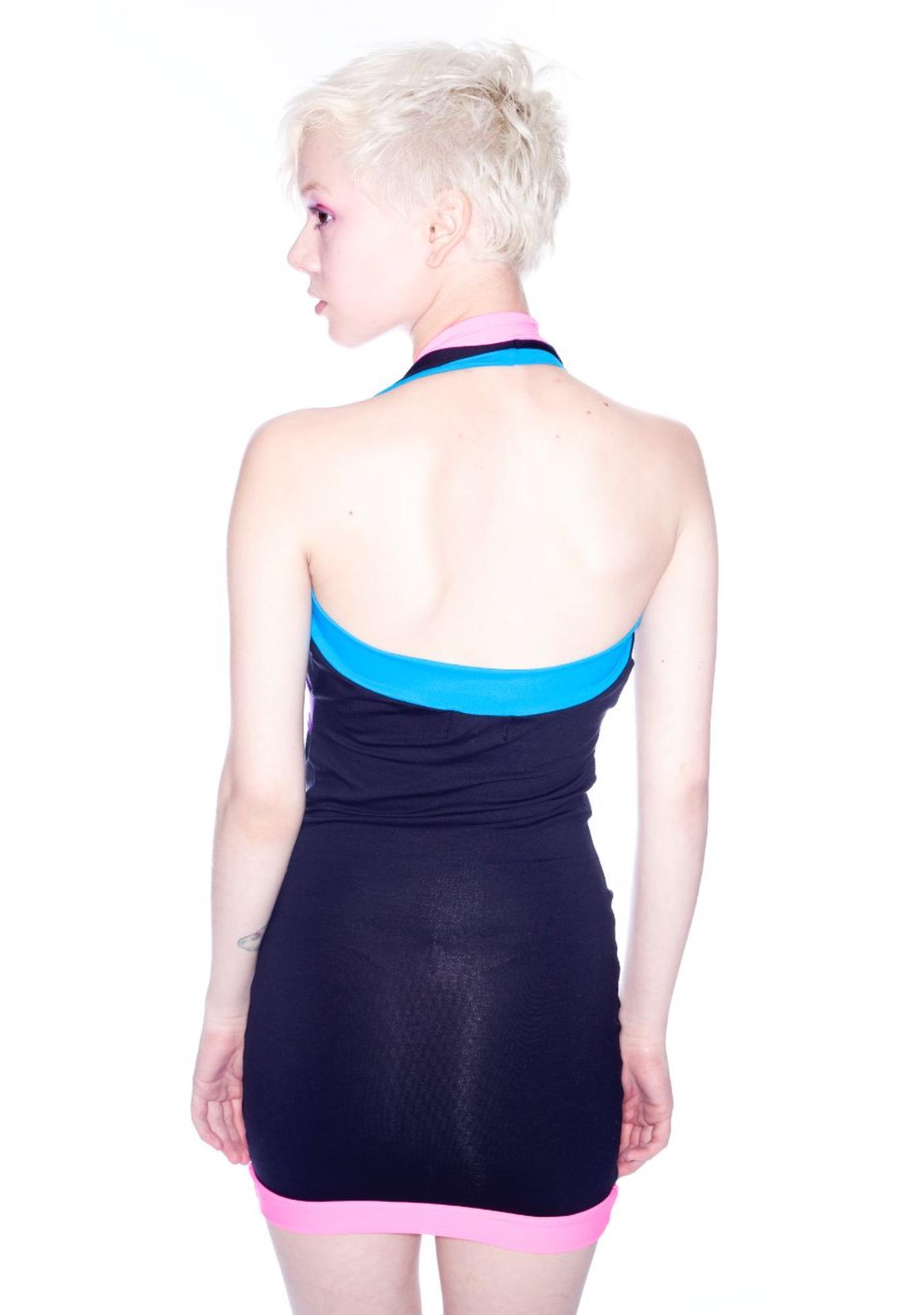 Quontum Neon Plunge Halter Dress