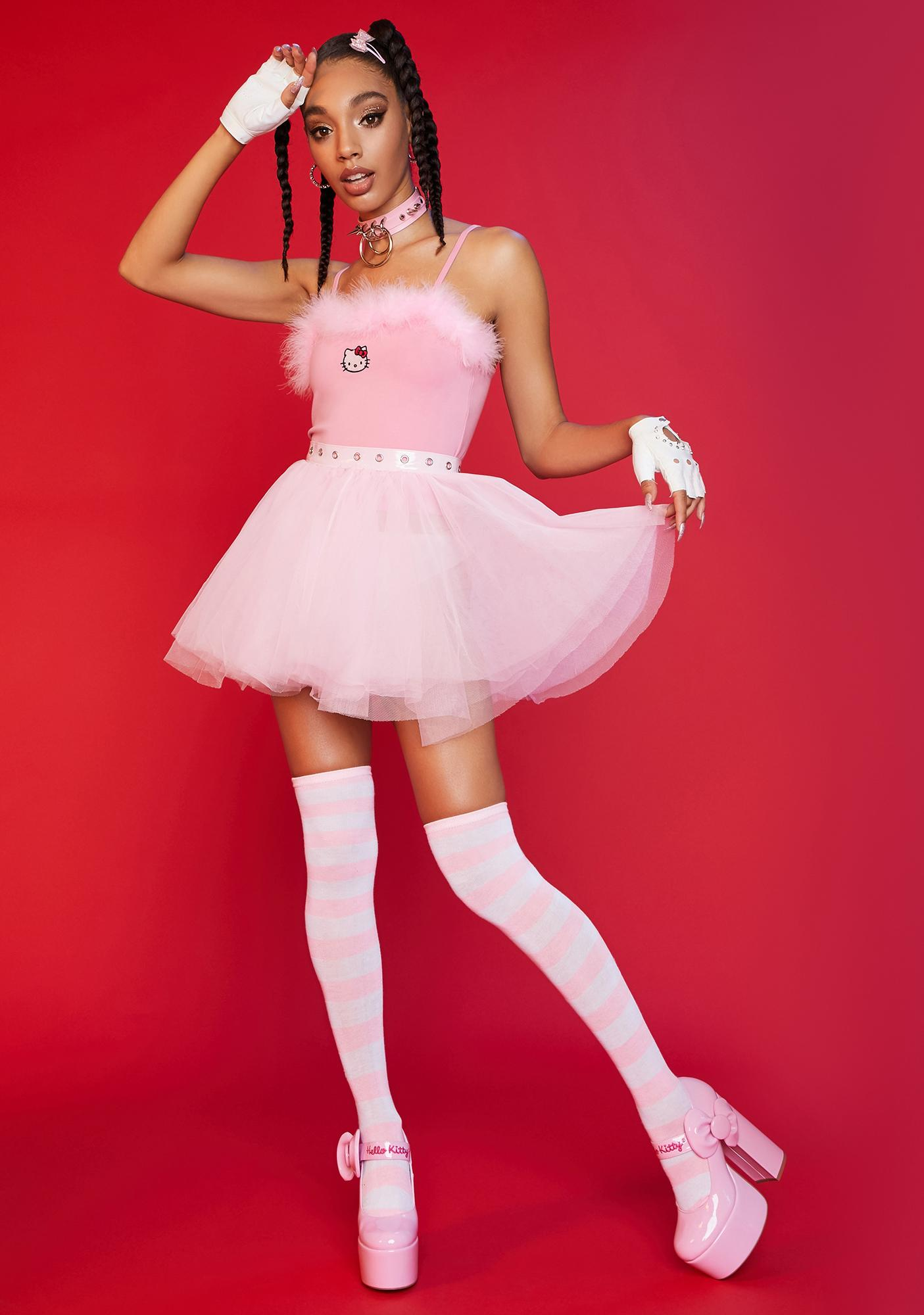 Dolls Kill x Hello Kitty Pretty Please Marabou Tank Top