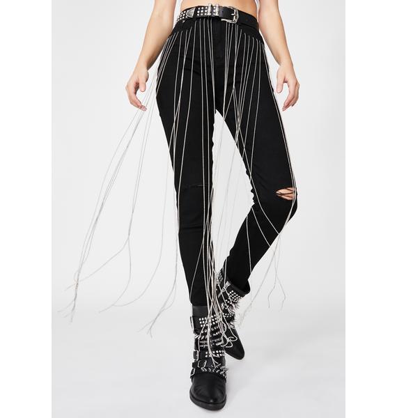 Night Fallin For Ya Rhinestone Fringe Jeans