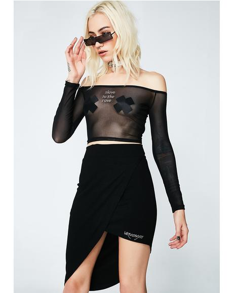Black Mesh Slave To The Rave Top