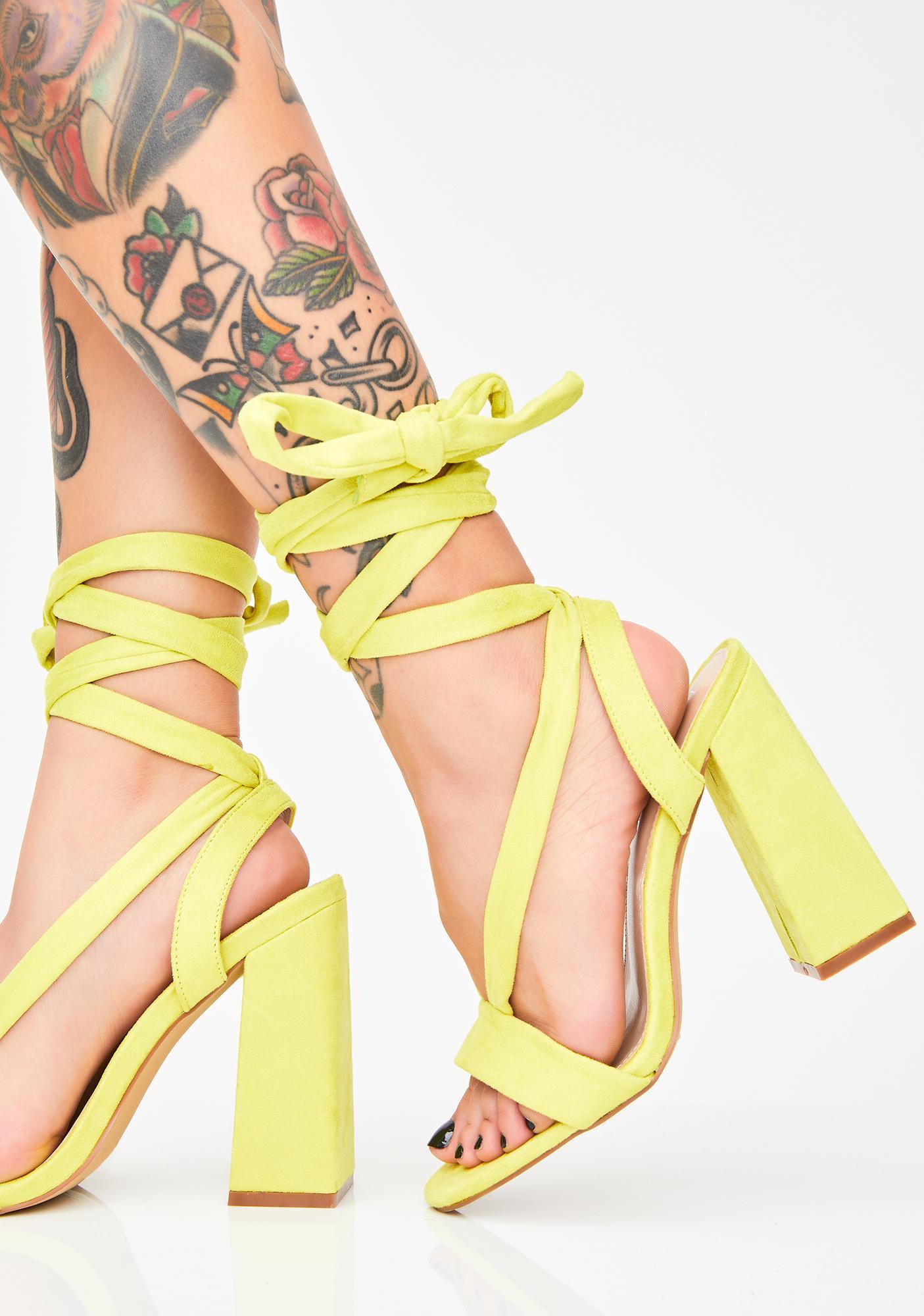 Public Desire Slime Admire Strappy Suede Heels