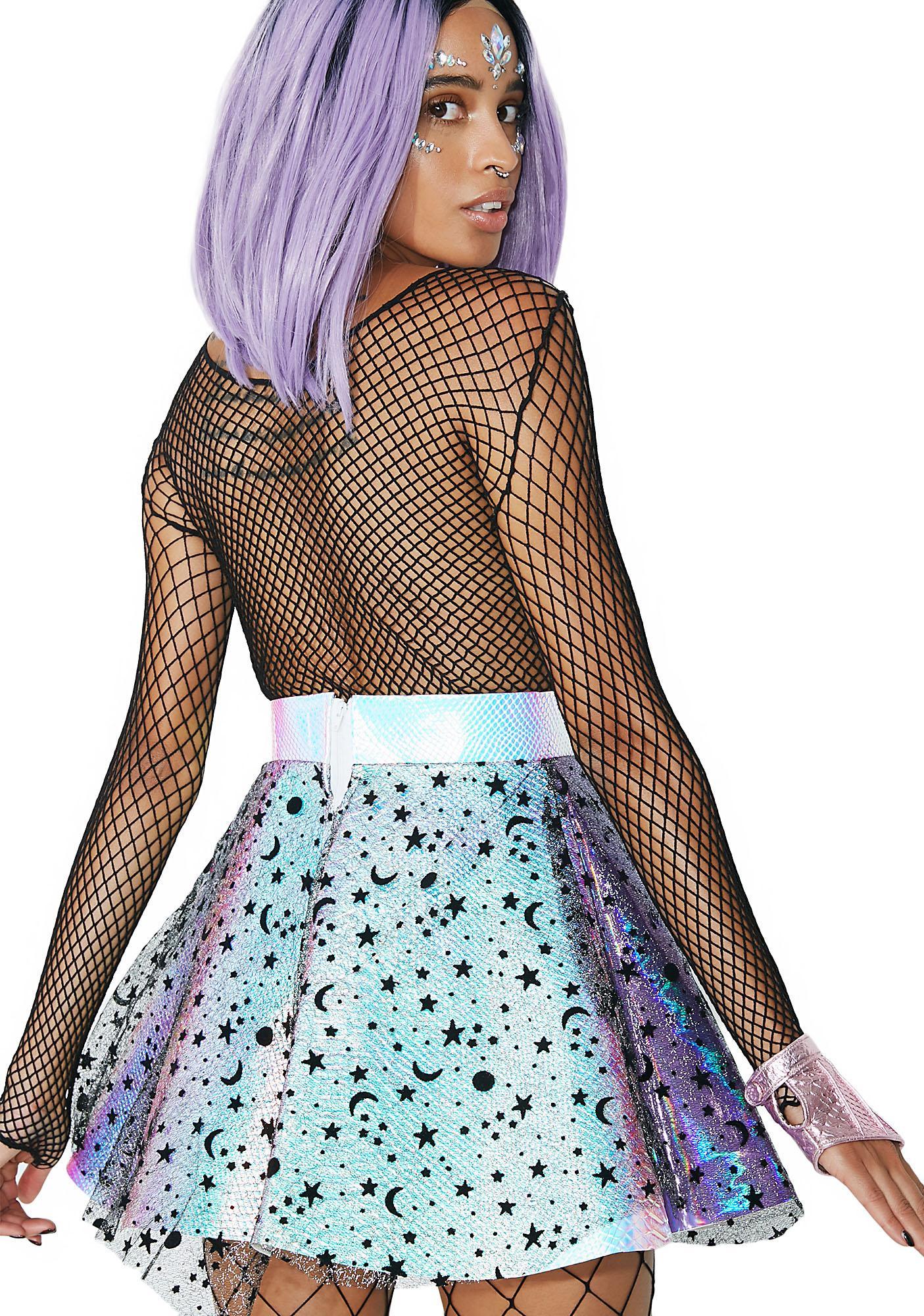 Cosmic Unicornz Holographic Moon Star Skirt