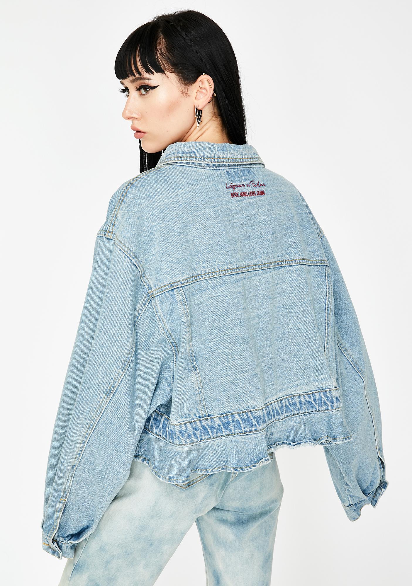 Liquor N Poker Dakota Oversized Cropped Denim Jacket