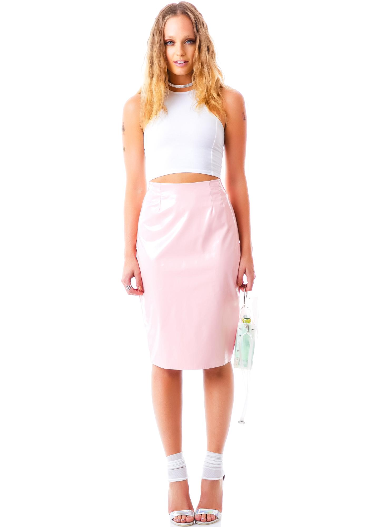 Coco Cream Sheen Veggie Leather Skirt