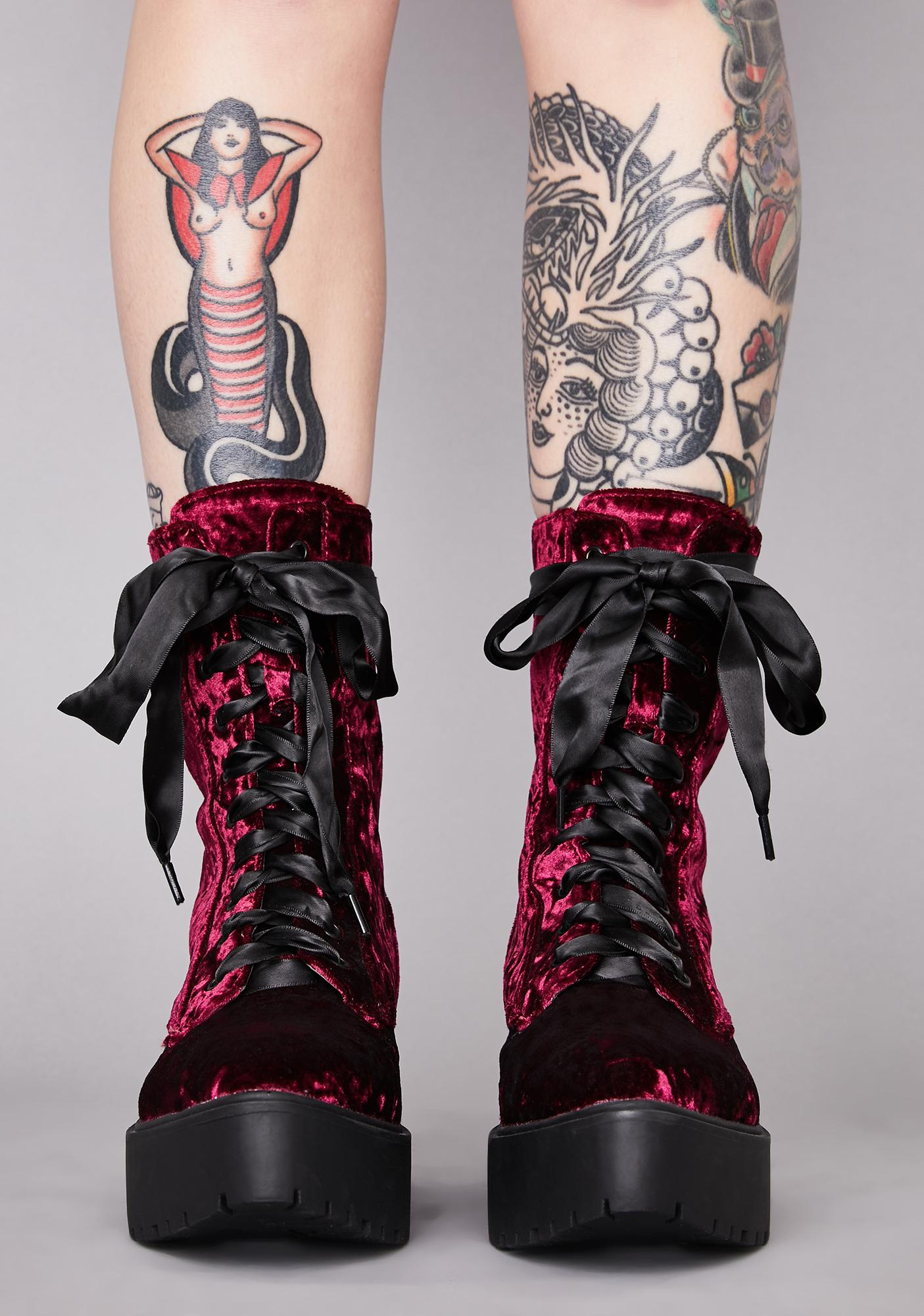 Widow Wine Sin-Struck Strides Velvet Boots