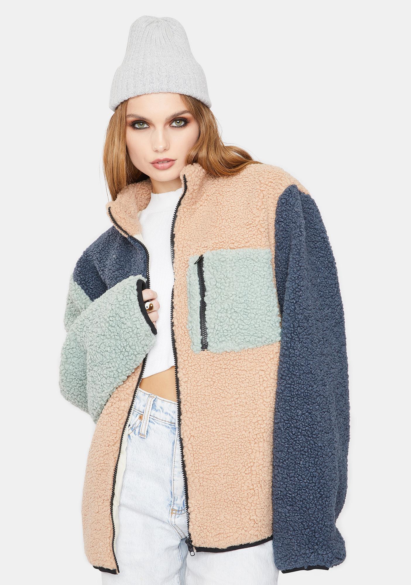 Daisy Street Sherpa Color Block Jacket