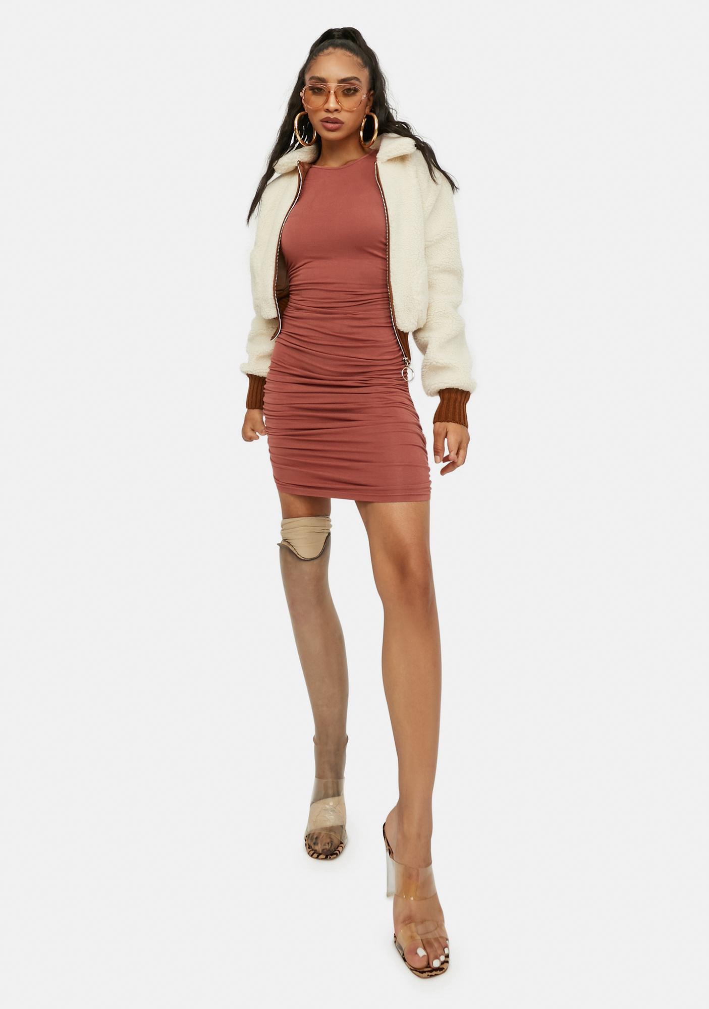 Devoted To You Ruched Mini Dress
