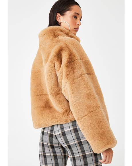 Tan Xander Faux Fur Jacket