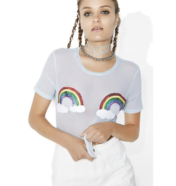 Glamorous Rainbow Revolution Sheer Tee